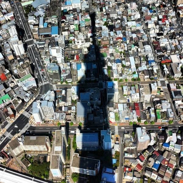 東京スカイツリーの巨大な影