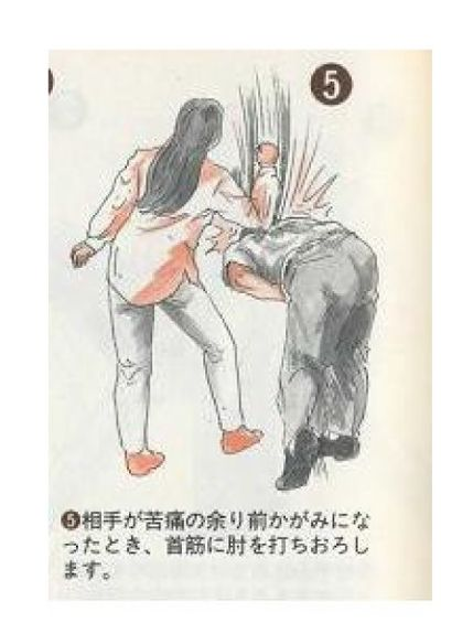 痴漢撃退法:5.相手が苦痛の余り前かがみになったとき、首筋に肘を打ちおろします。