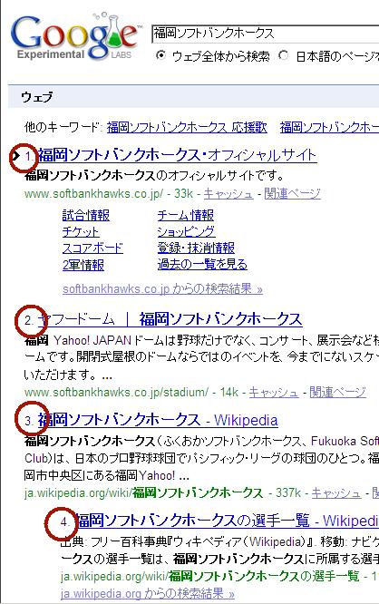 Google検索結果 bookmarklet使用後