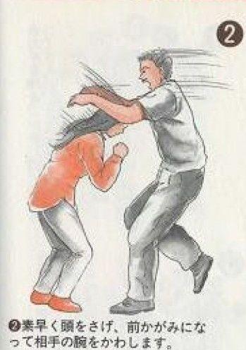 痴漢撃退法:2.素早く頭をさげ、前かがみになって相手の腕をかわします。