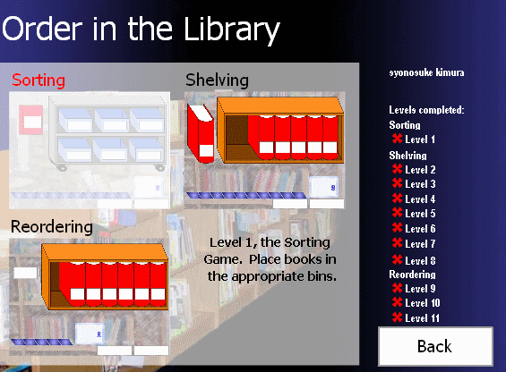 Order in the Library : select game